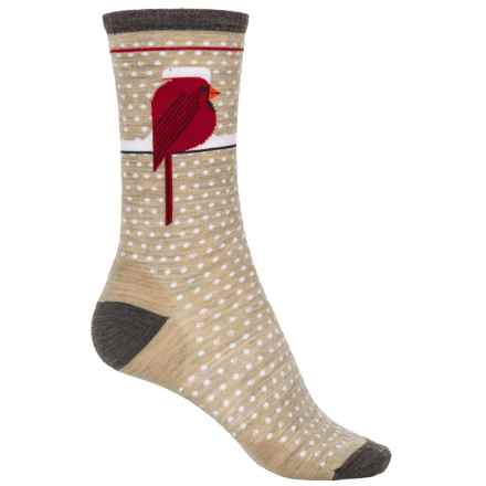 SmartWool Charley Harper Cool Cardinal Socks - Merino Wool, Crew (For Women) in Oatmeal Heather - 2nds