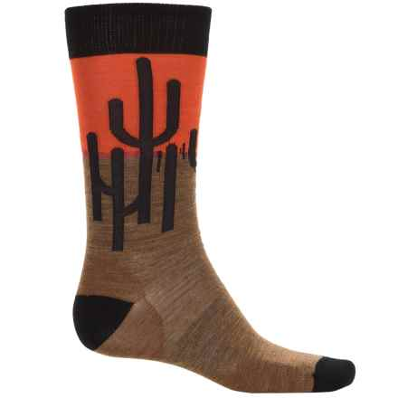 SmartWool Charley Harper Horizon Cactus Socks - Merino Wool, Crew (For Men) in Caramel Heather - Closeouts