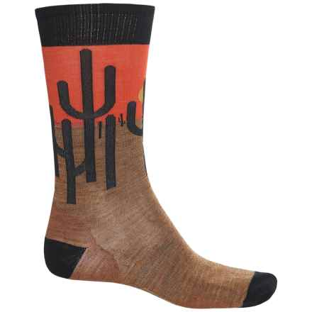 SmartWool Charley Harper Horizon Cactus Socks - Merino Wool, Crew (For Men) in Caramel Heather - 2nds