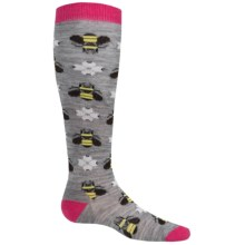 SmartWool Charley Harper Monteverde Knee Socks - Merino Wool (For Little and Big Girls) in Light Gray Heather - Closeouts