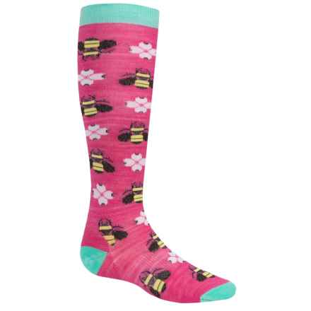 SmartWool Charley Harper Monteverde Socks - Merino Wool, Over the Calf (For Little and Big Girls) in Bright Pink - Closeouts
