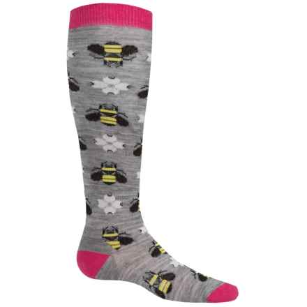 SmartWool Charley Harper Monteverde Socks - Merino Wool, Over the Calf (For Little and Big Girls) in Light Gray Heather - Closeouts