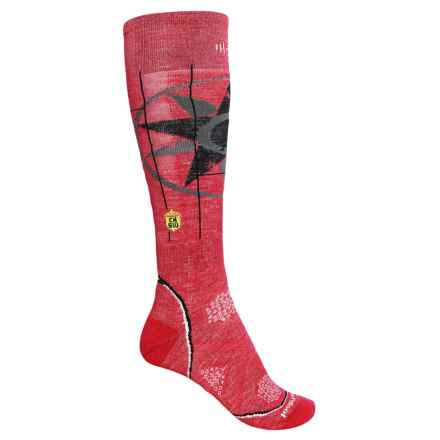 SmartWool Charley Harper PhD Ski Socks - Merino Wool, Over the Calf (For Women) in Persian Red Heather - 2nds