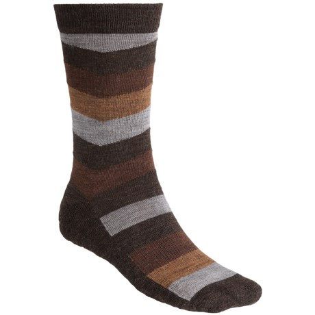 SmartWool Chevron Stripe Socks - Merino Wool, Crew (For Men) in Chestnut Heather
