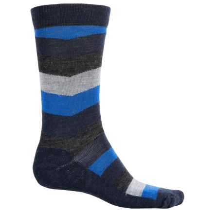 SmartWool Chevron Stripe Socks - Merino Wool, Crew (For Men) in Deep Navy Heather/Medium Gray Heather - 2nds