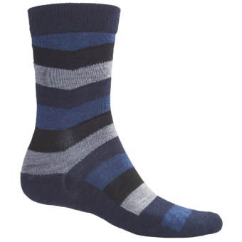 SmartWool Chevron Stripe Socks - Merino Wool, Crew (For Men) in Deep Navy Heather