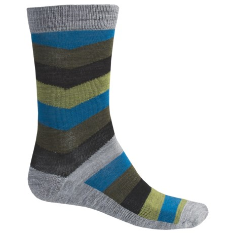 SmartWool Chevron Stripe Socks - Merino Wool, Crew (For Men) in Light Grey Heather