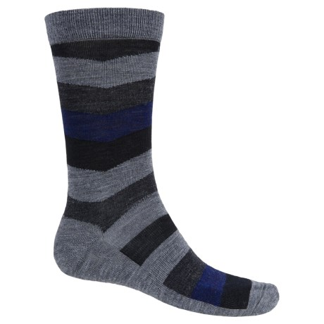 SmartWool Chevron Stripe Socks - Merino Wool, Crew (For Men) in Medium Gray/Navy
