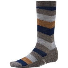 SmartWool Chevron Stripe Socks - Merino Wool, Crew (For Men) in Taupe Heather - 2nds