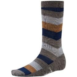 SmartWool Chevron Stripe Socks - Merino Wool, Crew (For Men) in Taupe Heather