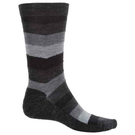 SmartWool Chevron Striped Socks - Merino Wool, Crew (For Men) in Black - Closeouts