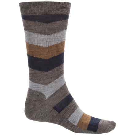 SmartWool Chevron Striped Socks - Merino Wool, Crew (For Men) in Taupe - Closeouts