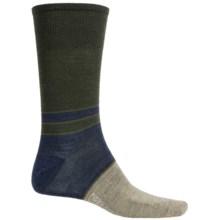SmartWool Color-Block Denim Socks - Merino Wool, Crew, Lightweight (For Men) in Forest - 2nds