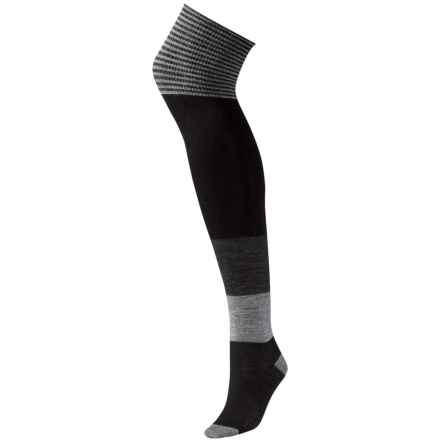 SmartWool Color-block Over-the-Knee Socks - Merino Wool (For Women) in Black - Closeouts
