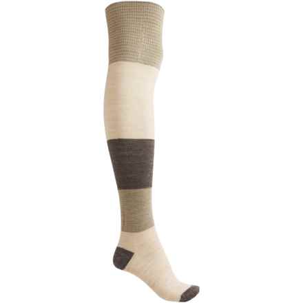 SmartWool Color-block Over-the-Knee Socks - Merino Wool (For Women) in Natural Heather - Closeouts