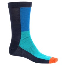 SmartWool Color-Block Socks - Ultralight, Crew, Merino Wool (For Men and Women) in Deep Navy Heather - Closeouts