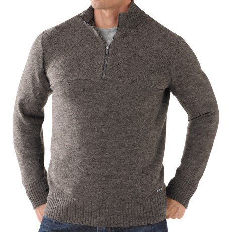 SmartWool Conundrum Peak Sweater - Merino Wool, Zip Neck (For Men) in Taupe Heather