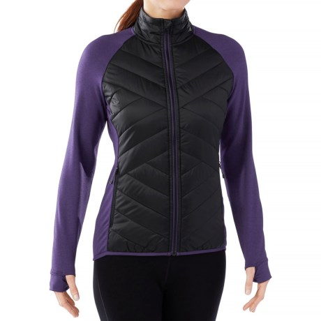 SmartWool Corbet 120 Jacket - Insulated, Merino Wool (For Women) in Black/Mountain Purple