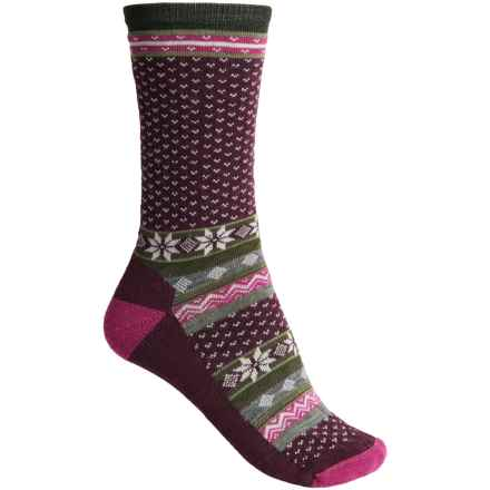 SmartWool Cozy Cabin Socks - Merino Wool, Crew (For Women) in Aubergine Heather - Closeouts