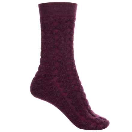 SmartWool Cozy Dot Socks - Merino Wool, Crew (For Women) in Aubergine Heather - Closeouts