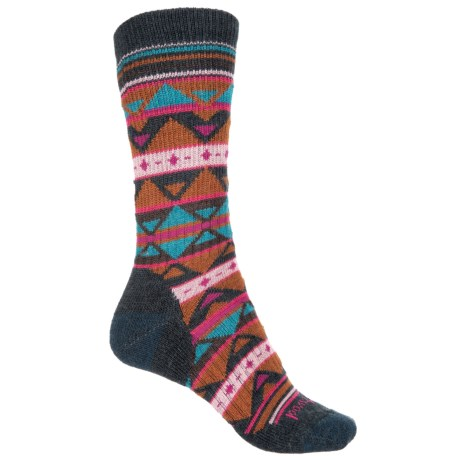 SmartWool Crystal Grid Socks - Merino Wool, Crew (For Women) in Lochness Heather