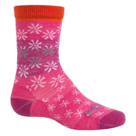 SmartWool Daisy Dot Socks - Merino Wool, Crew (For Big Girls) in Bright Pink - Closeouts