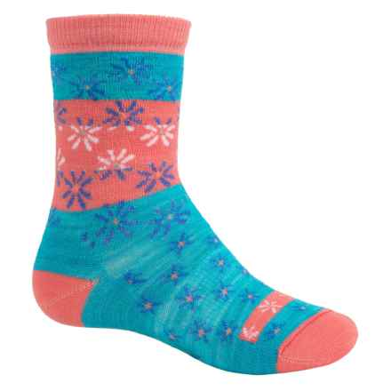 SmartWool Daisy Dot Socks - Merino Wool, Crew (For Big Girls) in Capri - Closeouts