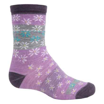 SmartWool Daisy Dot Socks - Merino Wool, Crew (For Big Girls) in Lilac Heather - Closeouts