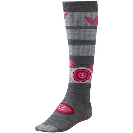 SmartWool Dappled Flower Socks - Merino Wool, Over the Calf (For Little and Big Girls) in Medium Grey Heather - 2nds