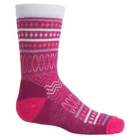SmartWool Diamond Flush Socks - Merino Wool, Crew (For Little Girls) in Berry - Closeouts