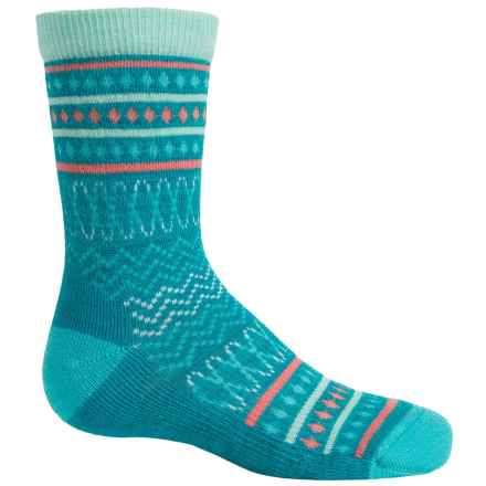 SmartWool Diamond Flush Socks - Merino Wool, Crew (For Little Girls) in Capri Blue Heather - Closeouts