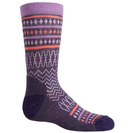 SmartWool Diamond Flush Socks - Merino Wool, Crew (For Little Girls) in Desert Purple Heather - Closeouts