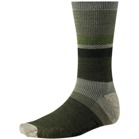 SmartWool Distressed Stripe Socks - Merino Wool, Crew (For Men) in Chino Heather