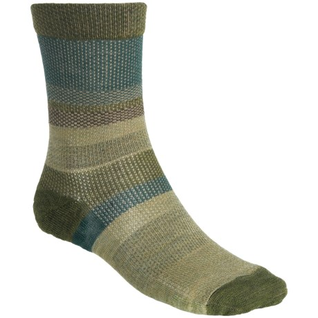 SmartWool Distressed Stripe Socks - Merino Wool, Crew (For Men) in Evergreen Wash