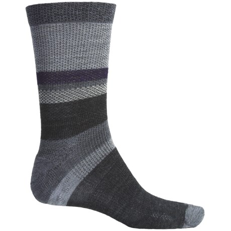 SmartWool Distressed Stripe Socks - Merino Wool, Crew (For Men) in Stone Wash