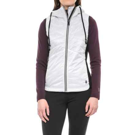 SmartWool Double Propulsion 60 Hooded Vest - Insulated (For Women) in Black/White - Closeouts