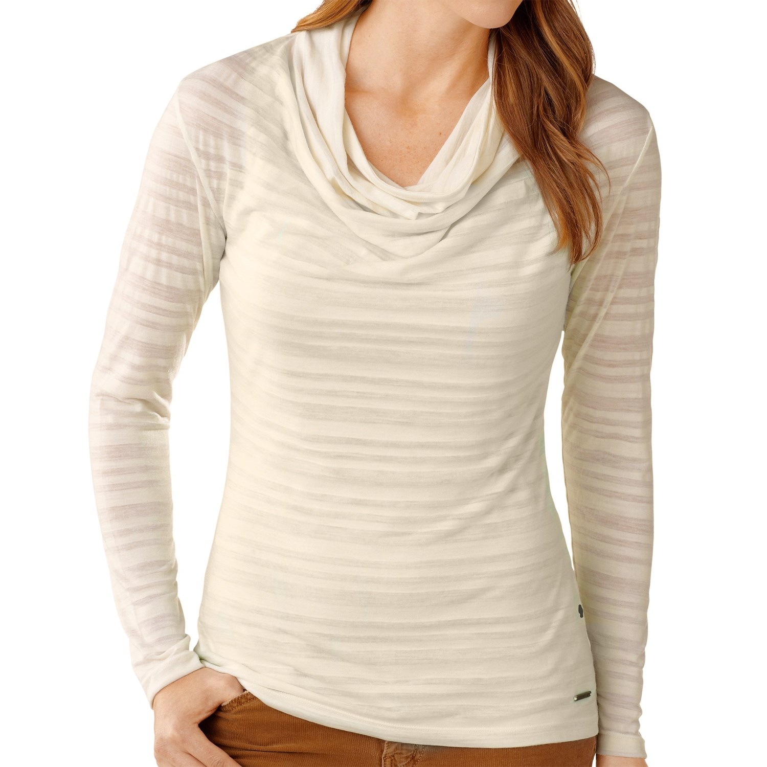Smartwool draped neck burnout shirt merino wool long for Merino wool shirt womens
