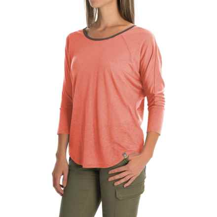 SmartWool Emerald Valley Strappy-Back T-Shirt - Merino Wool, 3/4 Sleeve (For Women) in Bright Coral - Closeouts