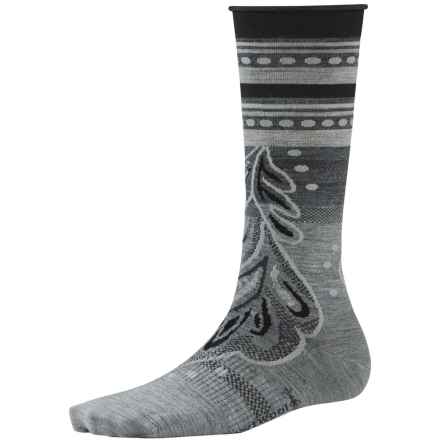 SmartWool Feather Falls Socks - Ultralight, Mid-Calf, Merino Wool (For Women) in Light Gray Heather - Closeouts