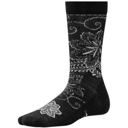 SmartWool Floral Scroll Socks - Merino Wool, Crew (For Women) in Black - Closeouts