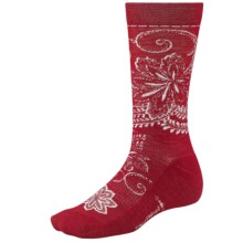 SmartWool Floral Scroll Socks - Merino Wool, Crew (For Women) in Crimson - 2nds