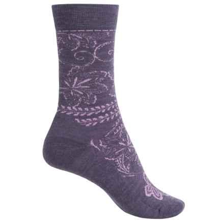 SmartWool Floral Scroll Socks - Merino Wool, Crew (For Women) in Desert Purple Heather - Closeouts