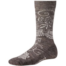 SmartWool Floral Scroll Socks - Merino Wool, Crew (For Women) in Taupe - Closeouts