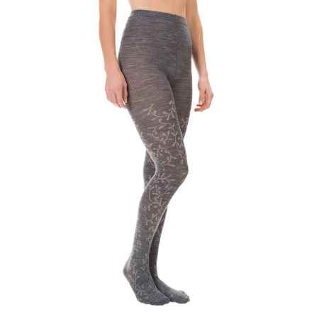SmartWool Floral Scrolls Tights - Merino Wool (For Women) in Medium Gray - Closeouts