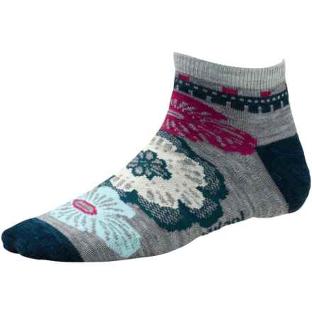SmartWool Floral Trio Socks - Merino Wool, Below-the-Ankle (For Women) in Light Grey Heather - 2nds
