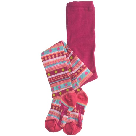 SmartWool Funky Fair Isle Tights - Merino Wool (For Girls) in Berry