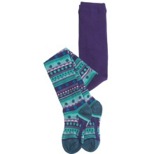 SmartWool Funky Fair Isle Tights - Merino Wool (For Girls) in Grape - 2nds