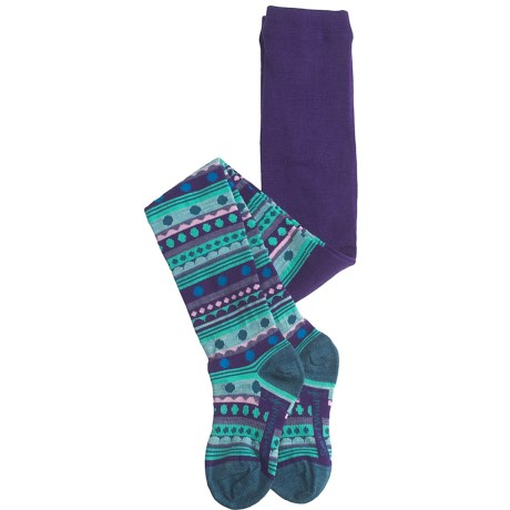 SmartWool Funky Fair Isle Tights - Merino Wool (For Girls) in Grape