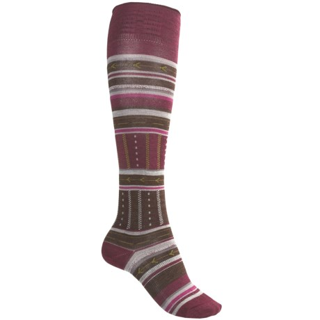 SmartWool Gleaming Seeding Socks - Merino Wool, Over-the-Calf (For Women) in Wine Heather