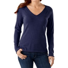 SmartWool Granite Falls Sweater - Merino Wool, V-Neck, Long Sleeve (For Women) in Ink Heather - Closeouts